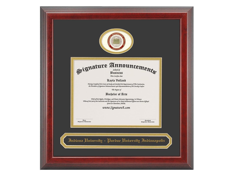 Signature Announcements Indiana Purdue-University-Indianapolis Undergraduate Sculpted Foil Seal /& Name Graduation Diploma Frame 16 x 16 Cherry