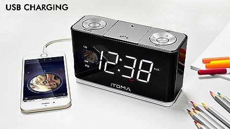 Radio Reloj Digital FM con luz Nocturna, alarmas Dobles, Brillo automático, Gran Pantalla Blanca de 1,4 Pulgadas, Carga USB, Entrada Auxiliar de ...