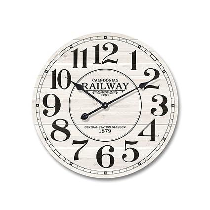 Mobili Rebecca® Reloj de Pared Madera MDF Metal Design Vintage Redondo Cocina Salón Ø 60