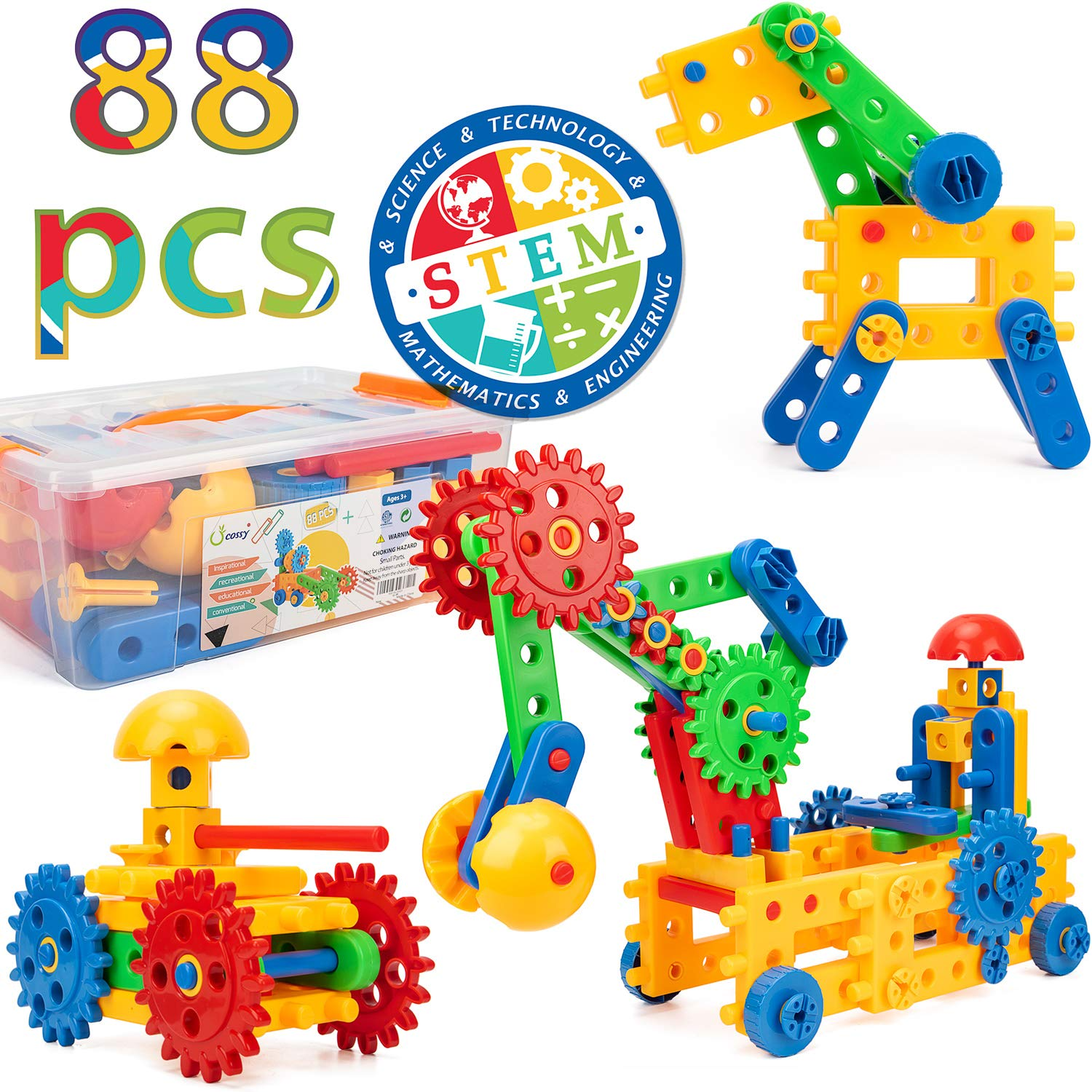 cossy Engineering Blocks for Kids 15 Shapes Super Fun Colorful Gears Building Set, 88 Pieces - STEM Educational Fun Toy Set for 3 Years and up, 3D Building Toys Set Gift for Boys & Girls