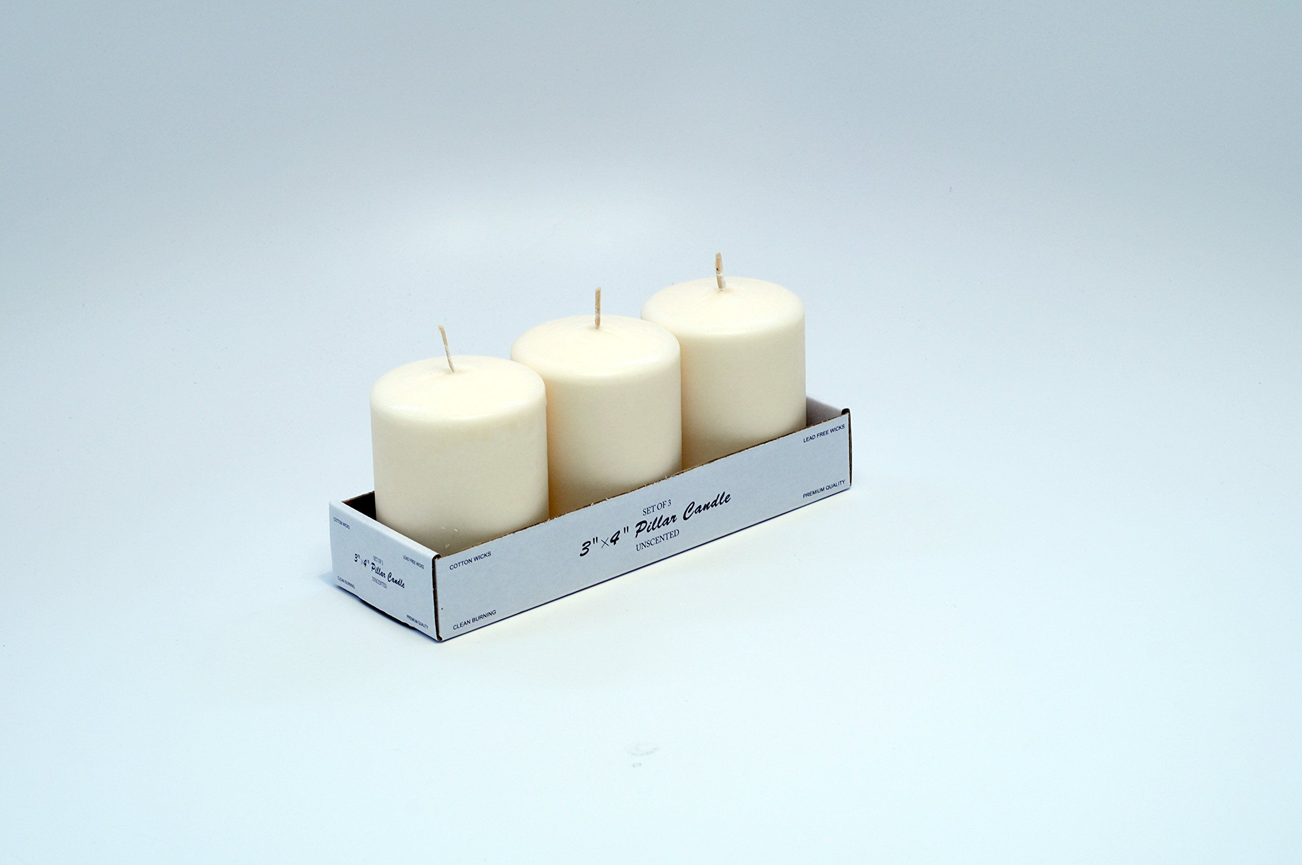 Candles4Less - 3 x 4 Inch White Pillar Candles (Bulk/48 Pcs), Unscented White pillar candles with Lead Free Cotton Wicks perfect for wedding by Candles4Less