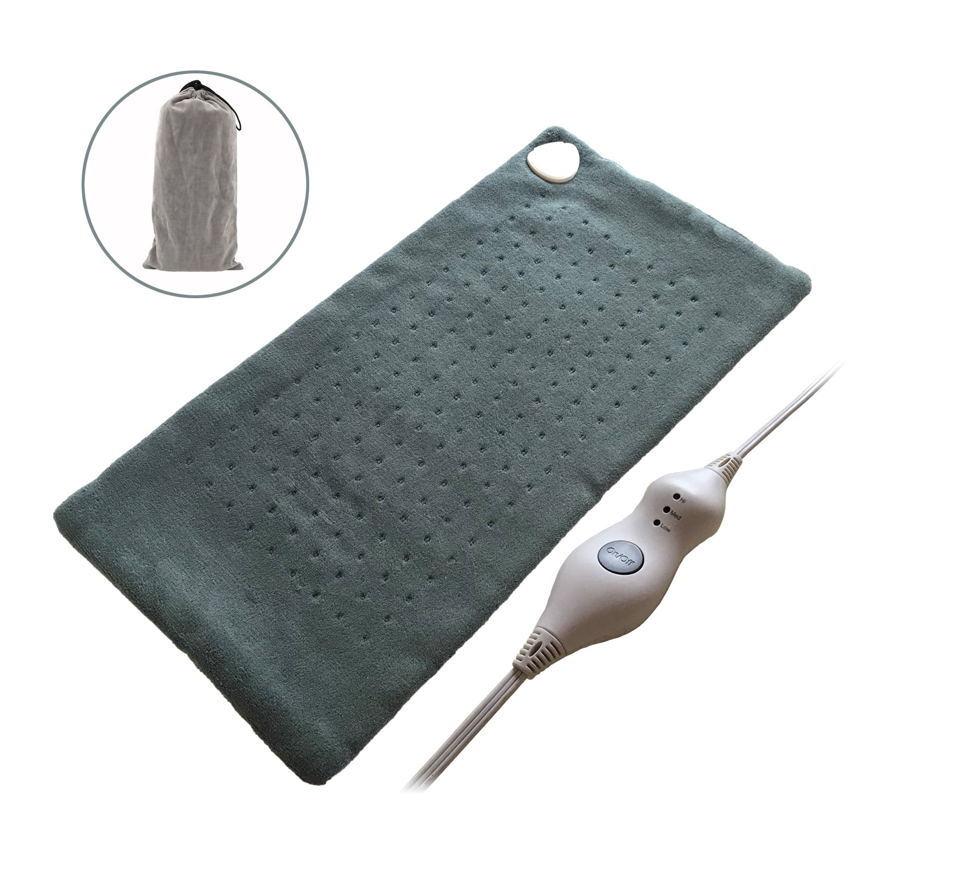 Koo-Care King Size XL Heating Pad with Fast-Heating Technology, 3 Temperature Settings & Super Soft Microplush - (12'' x 24'')