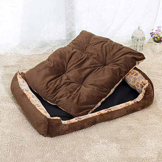 Amazon.com : Warm Corduroy Padded Dog Bed Waterproof Washable Pet House Mat Perros Soft Sofa Kennel Dogs Cats House for Large Dogs, Beige, M 50x40cm : Pet ...