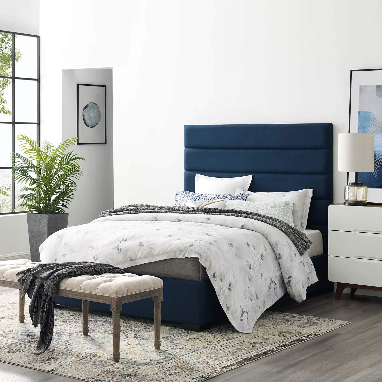 Modway MOD-6049-BLU Genevieve Queen Upholstered Fabric Platform Bed, Blue