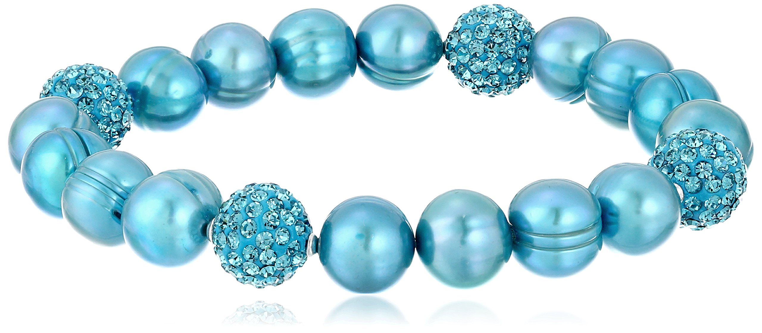 Honora ''Pop Star'' Teal Freshwater Cultured Pearl and Pave Bead Stretch Bracelet, 7.5''
