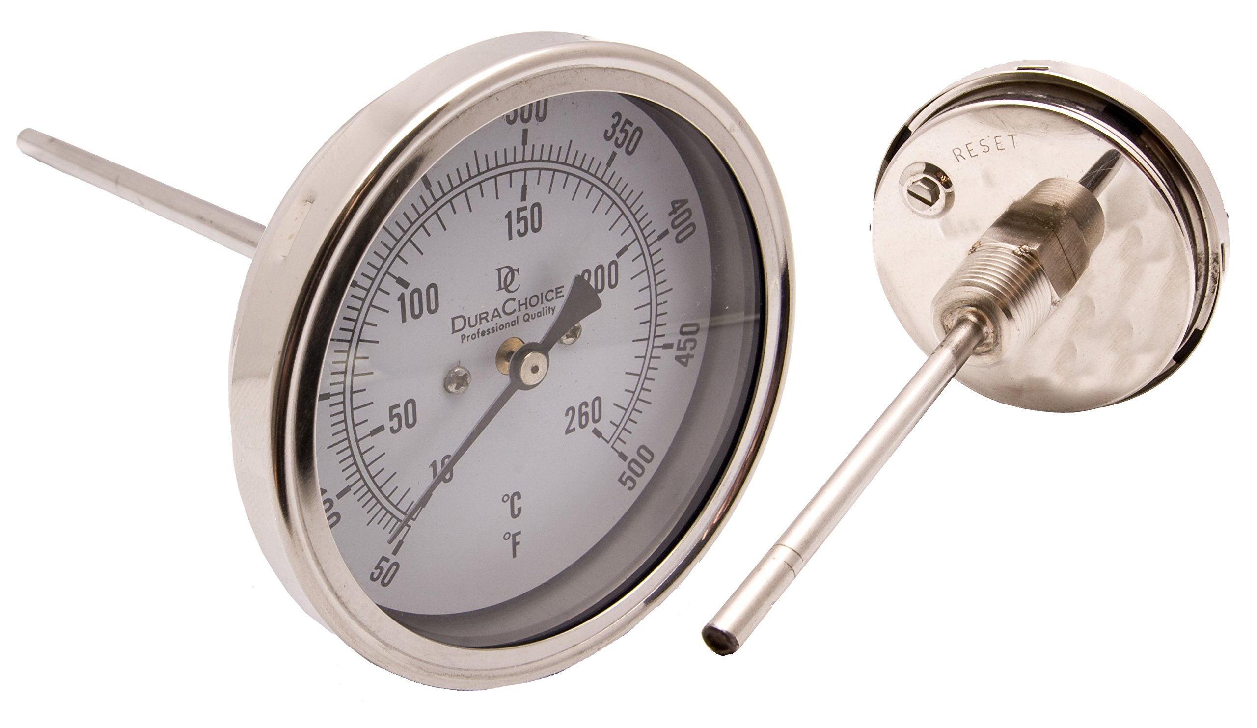 Industrial Bimetal Thermometer 3'' Face x 9'' Stem, 0-250 w/Calibration Dial