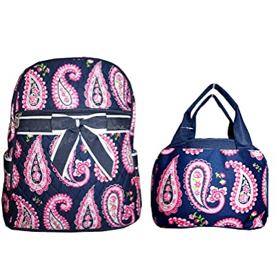 new LU Paisley Flower Girls Quilted Bow School Backpack Lunch Box Set Blue Pink
