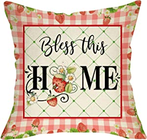 Ussap Bless this Home Decorative Throw Pillow Cover, Summer Strawberry Pink Buffalo Plaid Check Rustic Home Farmhouse Decoration Sign, Seasonal Cushion Case for Sofa Couch Decor Cotton Linen 18