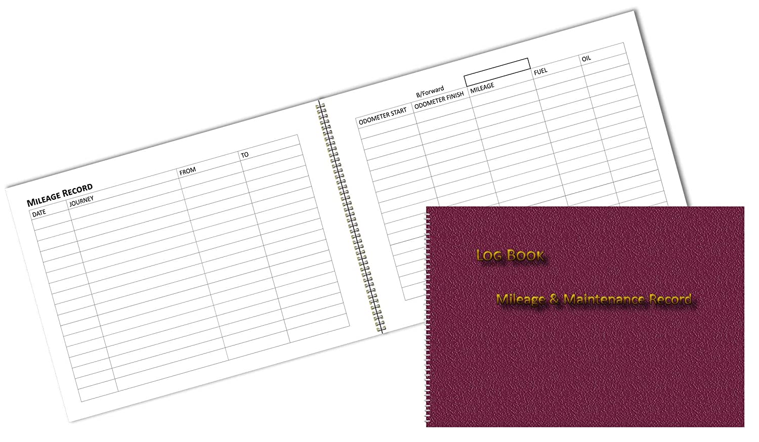 vehicle mileage log book burgundy leather print effect cover a6 6