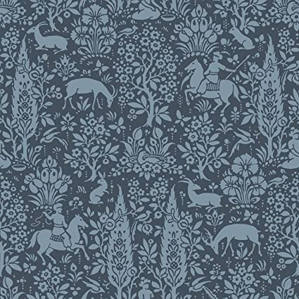 Crown Wallcoverings Woodland Wallpaper Dark Blue M1169 Full Roll