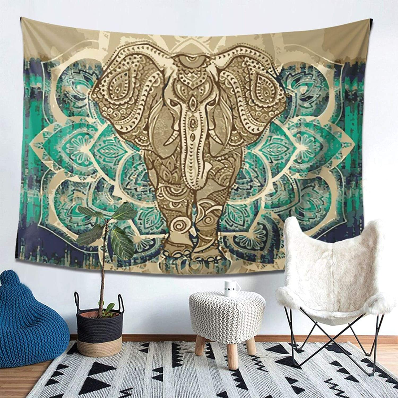 "Bohemian Elephant Tapestry - Mandala Boho Vintage Watercolor Yoga Tapestries Wall Hanging Indian Art Home Decoration Bedroom Decor Living Room Door Curtain Balcony Sheer Room Divider 78.7"" × 59.1"""
