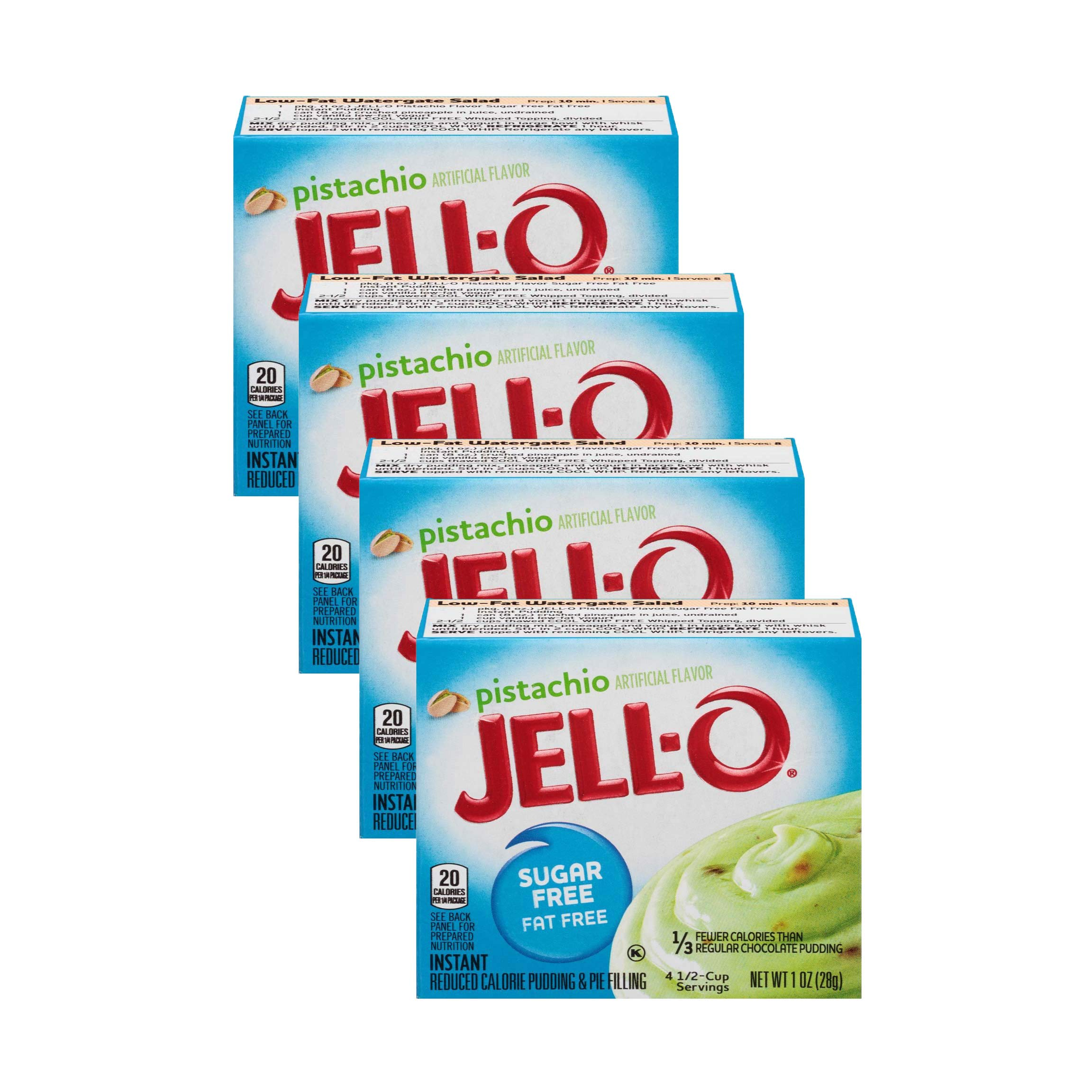 Jell-O Pistachio Flavor Sugar Free Pudding & Pie Filling (4-Pack)