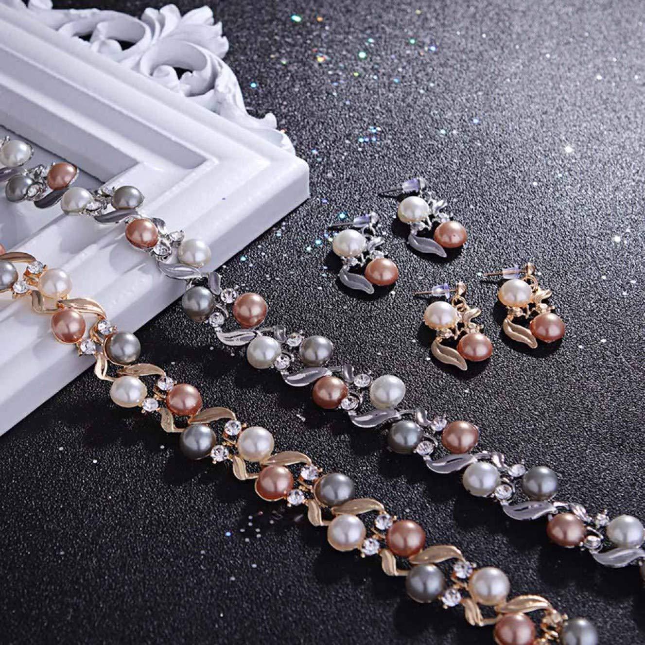hkgdh Elaborate Fashion Colourful Imitation Pearl Necklace Stud Earrings Set of 2 Female Temperament Fashion Alloy Pendant Earrings Set Festival Gift