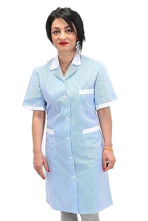 S Angiolina Vestaglia o Grembiule Lungo per Donna Pulizie Donna di Servizio Rigato Azzurro MV0201