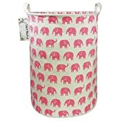 FANKANG Storage Bins, Nursery Hamper Canvas Laundry Basket Foldable with Waterproof PE Coating Large Storage Baskets for Kids Boys and Girls, Office, Bedroom, Clothes,Toys (Pink Elephant)