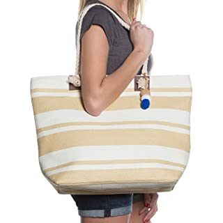 "Beach Bag By Pier 17 - Beach Tote Bag withTop Zipper Closure, Cotton Rope Handles, 2 Inner Pocket, Built-In Inner Backing for Extra Durability - L20""xH15""xW6"" (Beige - White)"