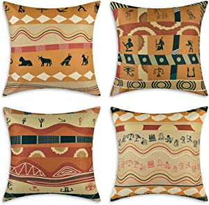 Yastouay Tribe Theme Throw Pillow Covers African Pattern Decorative Pillow Cases Set of 4 Tribal Pillow Covers Traditional Folk Cotton Linen Home Decor Cushion Cover, 18 x 18 Inches