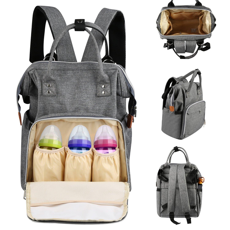 Diaper Bag, LEADSTAR Multifunctional Travel Diaper Backpack Nursing Baby Bag for Mon & Dad, Waterproof & Durable Nappy Tote Bag (Grey)