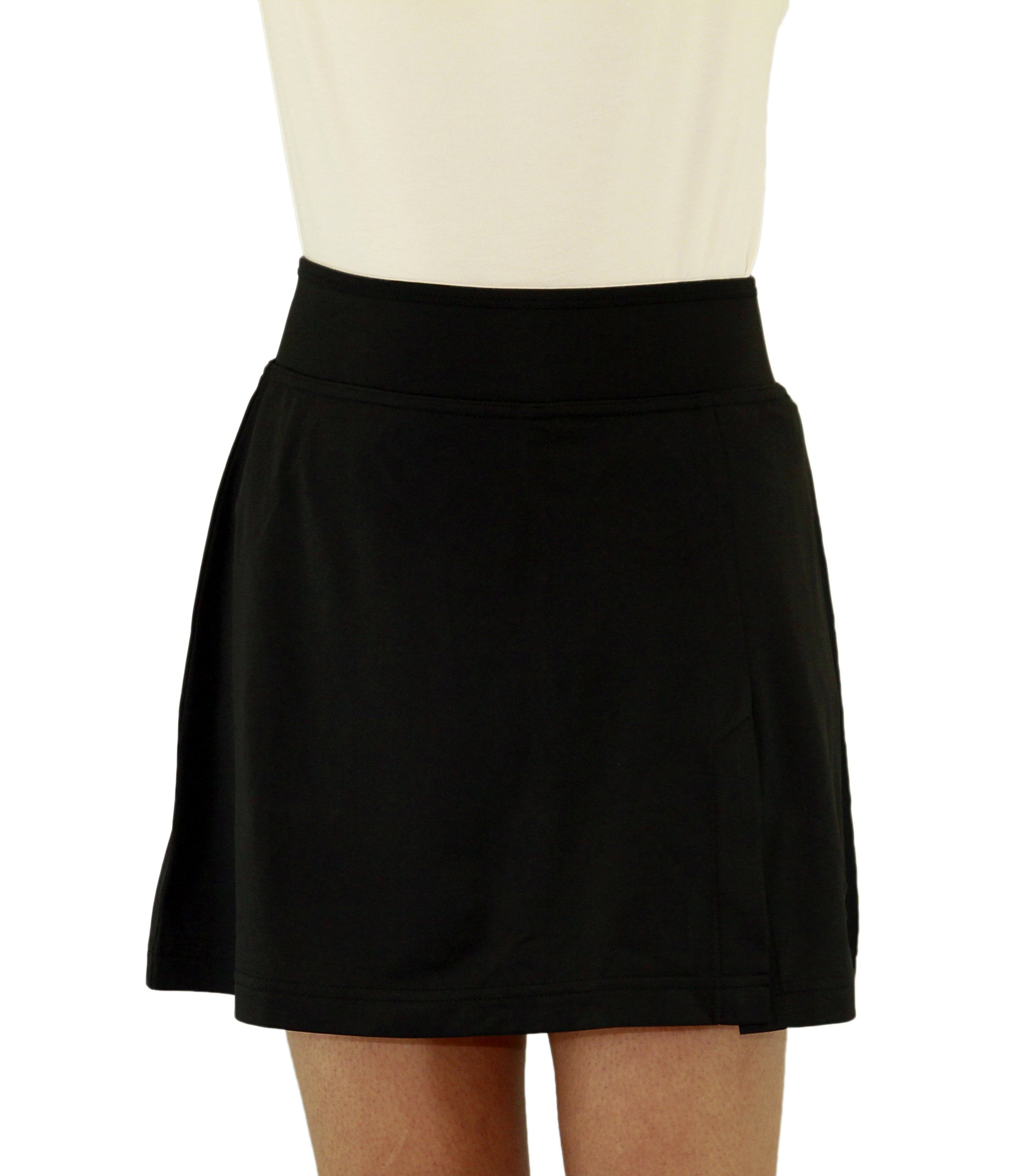 Ladies Running Cycling Tennis Athletic Skirt Skort (29/30'' Waist, Black)