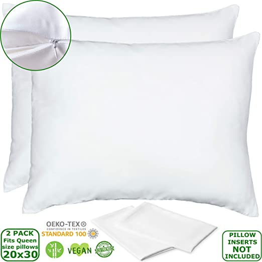 Bamboo Zippered Pillow Cover Fits Queen and Standard Pillows