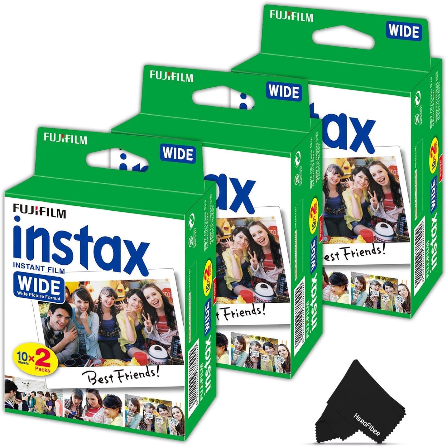 Fujifilm Instax Wide - Película instantánea 3 Pack (3 x 20) Total de 60 - Hojas de Fotos Compatible con Fujifilm Instax Wide 300, 210 y 200 Instant cámaras: Amazon.es: Electrónica