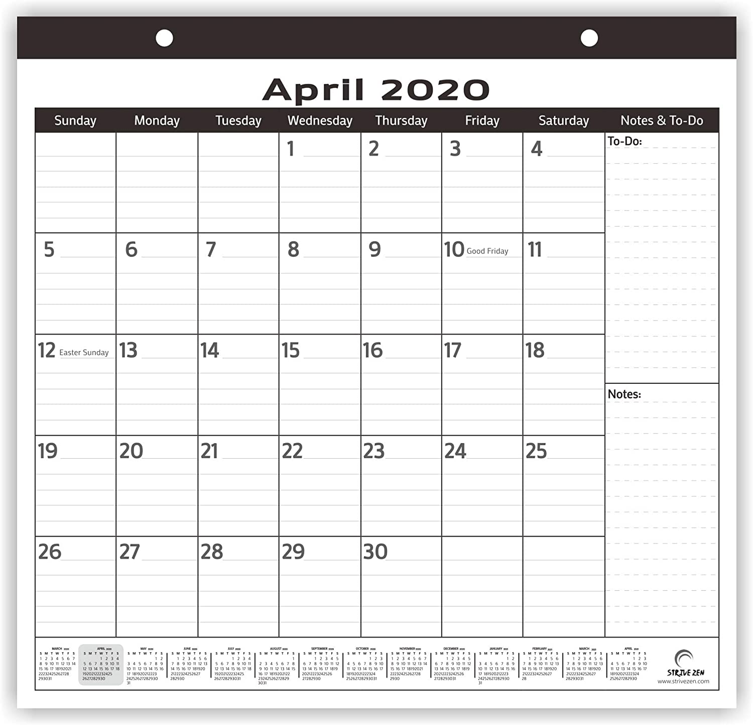 2020-2021 Magnetic Fridge Calendar by StriveZen, Monthly April 2020 -December 2021, Strong Magnets for Refrigerator, 10x10 Inch, Academic, Teacher Busy Mom. Perfect for Home-Office, Minimalist