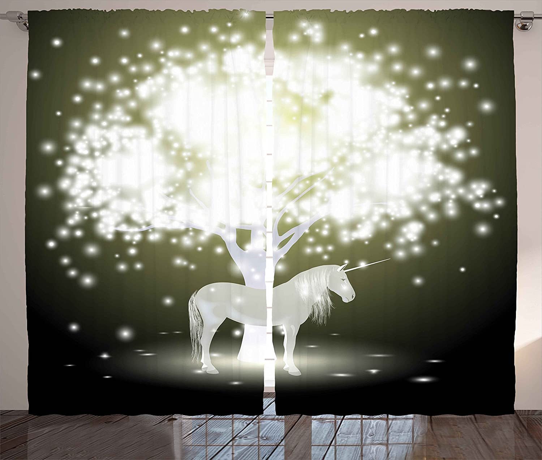 Ambesonne Magic Curtains, Unicorn Horse Under Mystic Tree with Human Fantasy Artwork Design, Living Room Bedroom Window Drapes 2 Panel Set, 108