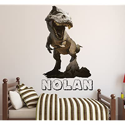"Lovely Decals World LLC T-Rex Dinosaur Wall Decals Custom Boys Name Art For Kids Rooms Decor Sticker Vinyl LD41 (18"" W x 30"" H): Home & Kitchen"