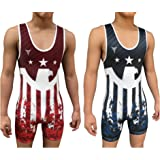 Victorious Eagle Reversible Wrestling Singlet - Freestyle Greco Roman Folkstyle - Red and Blue Mens & Youths