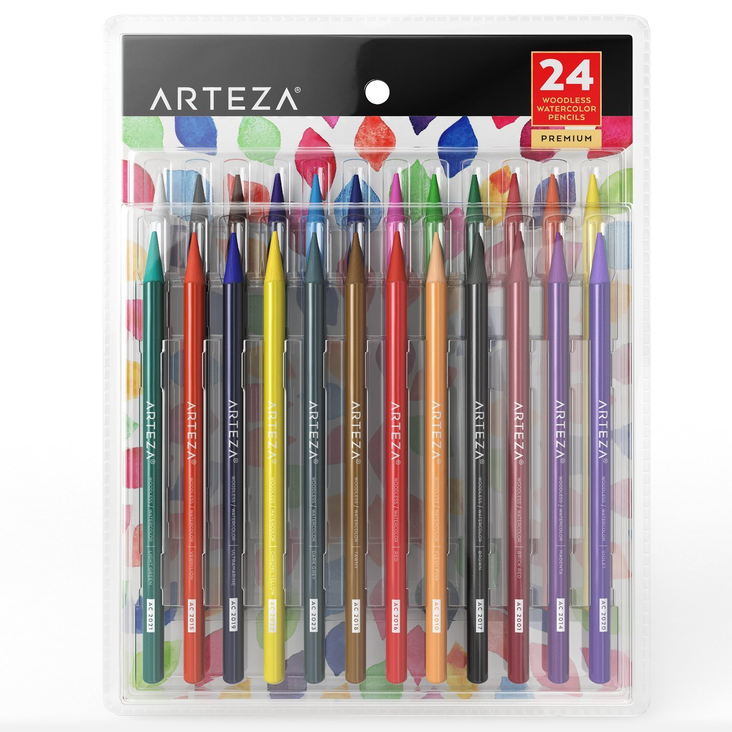 ARTEZA Woodless Watercolor Pencils, Set of 24, Multi Colored Art Drawing Pencils, Great for Blending and Layering, Watercolor Techniques and Adult Coloring Books by ARTEZA