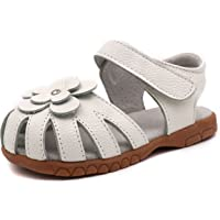 LONSOEN Girl's Leather Sandals Closed-Toe Flower Casual Outdoor Shoes(Toddler/Little Kid)