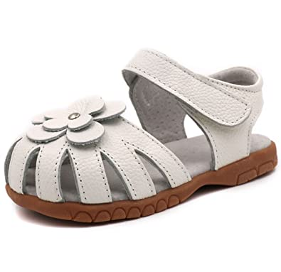 97aa4d02b880 LONSOEN Girl s Leather Sandals Closed-Toe Flower Casual Outdoor  Shoes(Toddler Little Kid