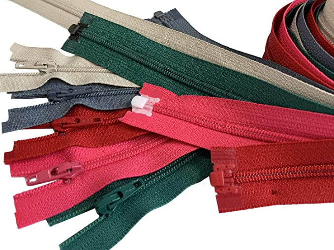 10 inches Made in USA 5pcs Assorted Colors Ykk Number 3 Nylon Coil Separating Zippers Bulk for Tailor Sewing Crafts