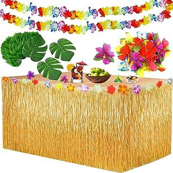 Yojoloin Falda de Mesa Luau Hawaiana Juego de decoración de la ...