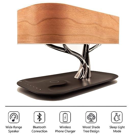Zaigon lámpara de noche | regulable al tacto | Altavoz Bluetooth | Cargador inalámbrico