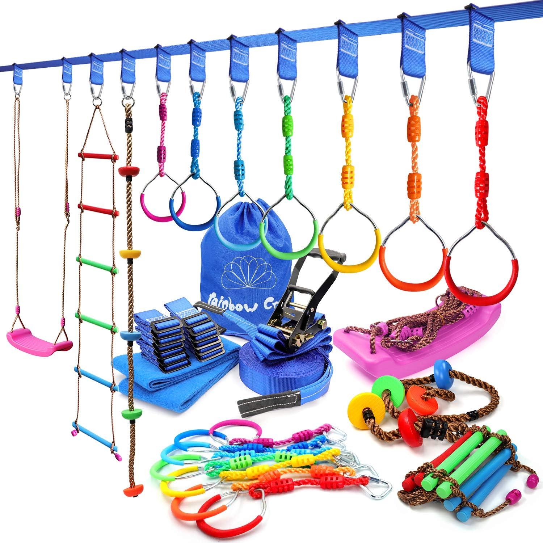 rainbow craft Ninja Obstacle Course - Heavy Duty Towing Strap Grade Ninja Line, 7-Pack Ninja Ring, Climbing Rope, Swing Ladder & Swing Seat - Kids Backyard Ninja Course Training Equipment