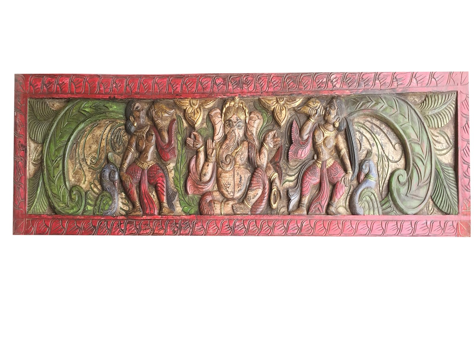 Wall Hanging Vintage Hand Carved Sitting Ganapati posture Headboard Boho Decor