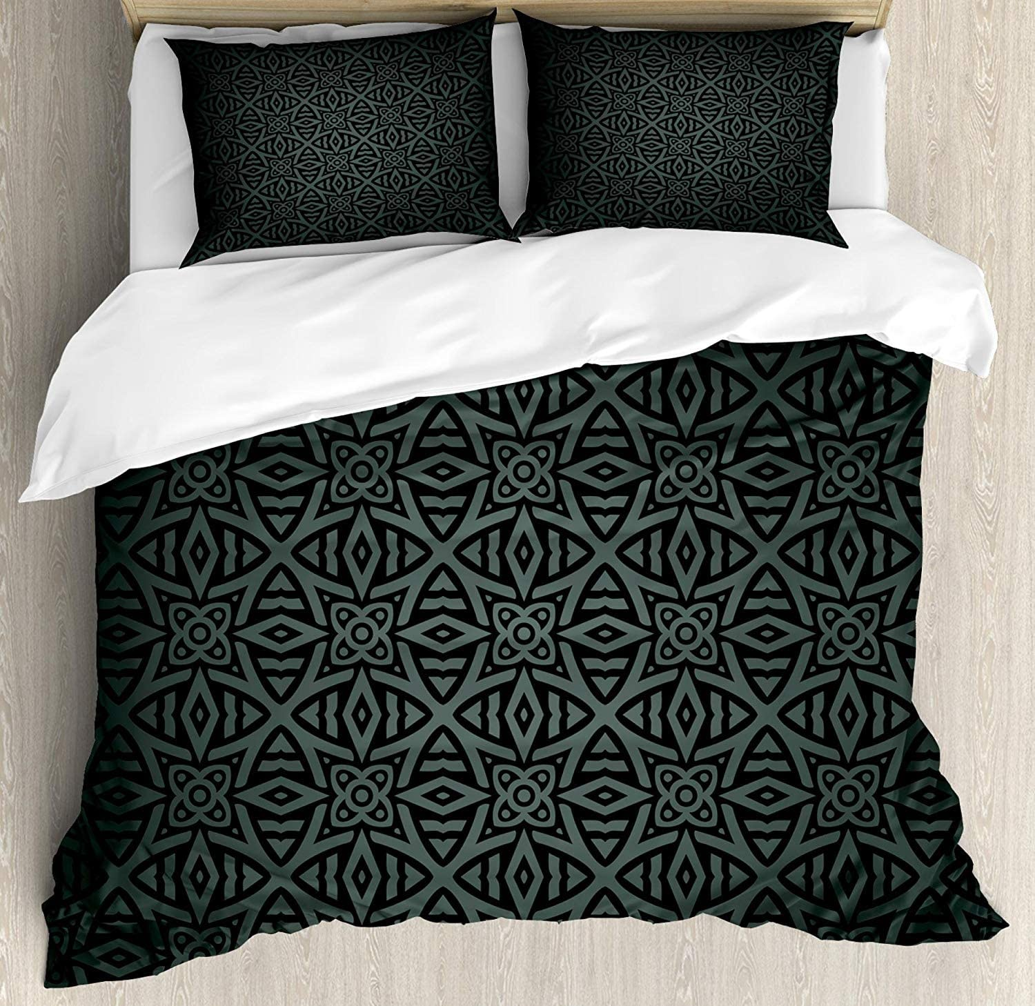 Dark Grey 3 Pieces Duvet Cover Set, Medieval Folkloric Ornament Celtic Pattern Vintage Style Abstract Floral Circles, Decorative Bedding Sets, Comforter Cover with 2 Pillow Shams, Black Grey,King