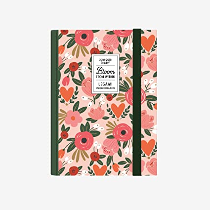 Legami AG160378 - Agenda foto 16 meses diaria pequeña 2018/2019, color flores