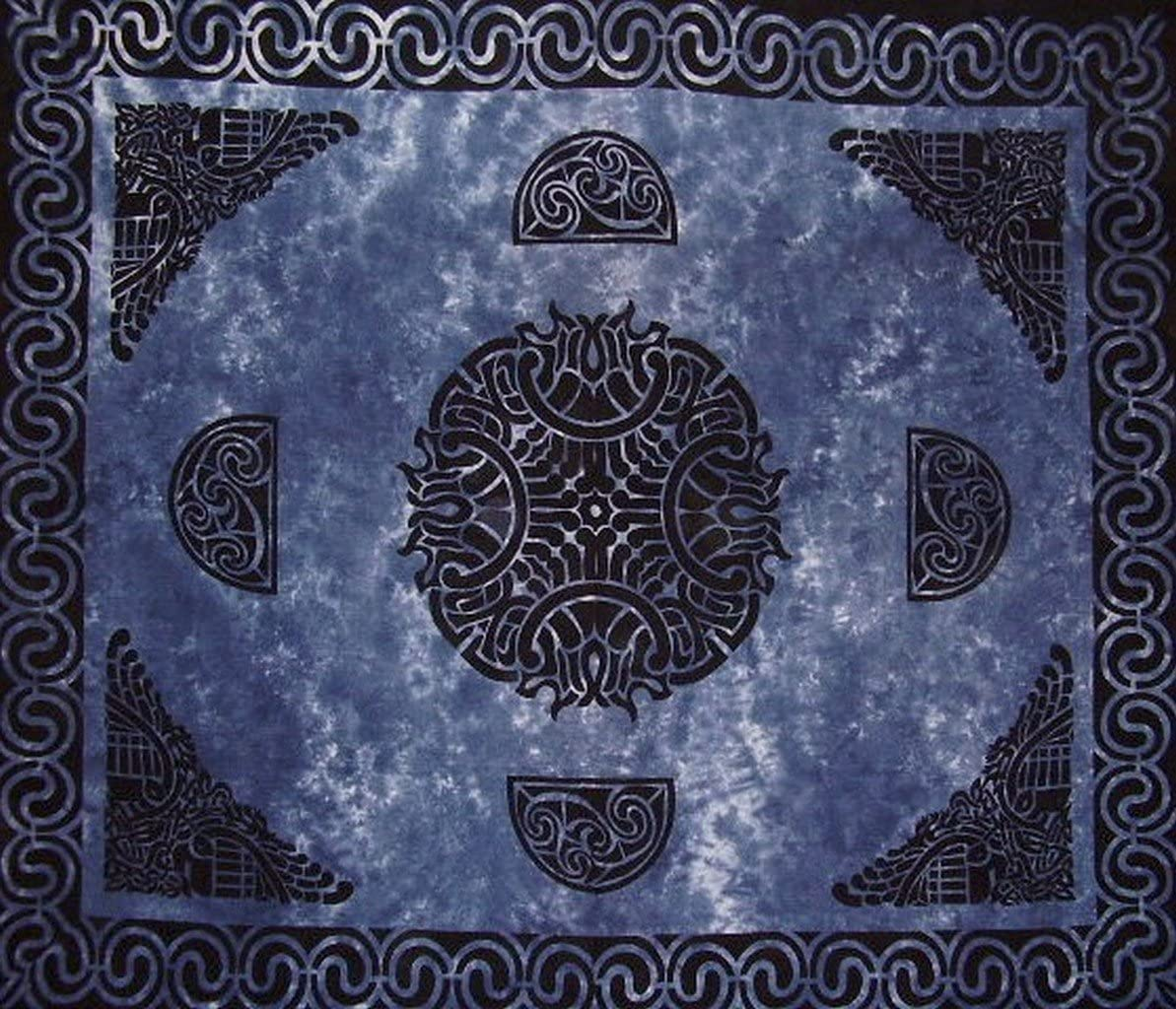 Celtic Tapestry Cotton Bedspread 104 x 88 Full Blue