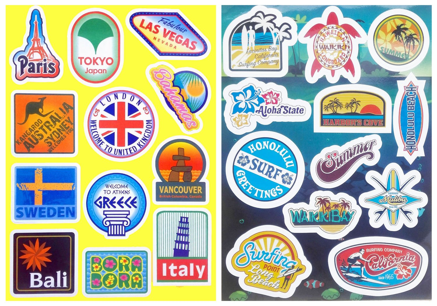Amazon com vooseyhome 2x world famous tourism attaraction country regions logo waterproof stickers idea for luggage skateboard laptop luggage suitcase
