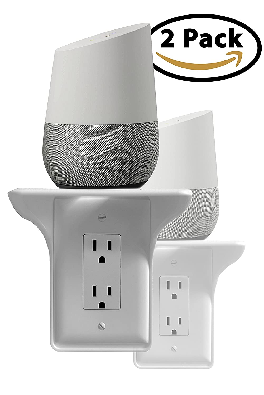 Storage Theory | Power Perch | Ultimate Outlet Shelf | Easy Installation, No Additional Hardware Required | Holds Up to 10 lbs | White Color | 2 Pack