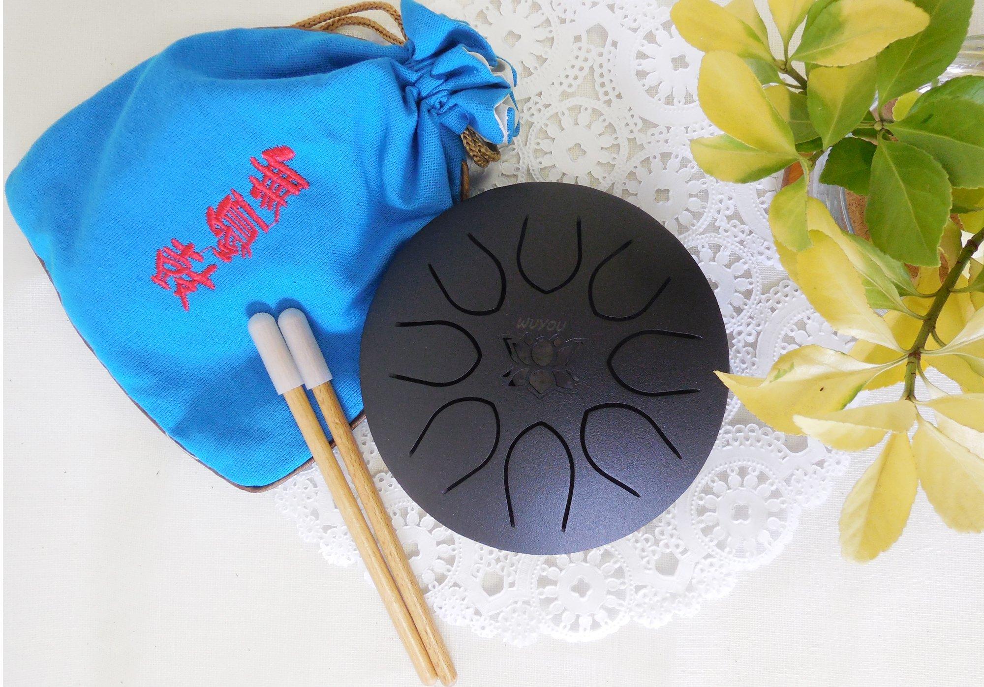 WuYou Chakra Drum Mini Tongue Drum Tank Handpan UFO series, Great for Meolodies Theropy (Black)
