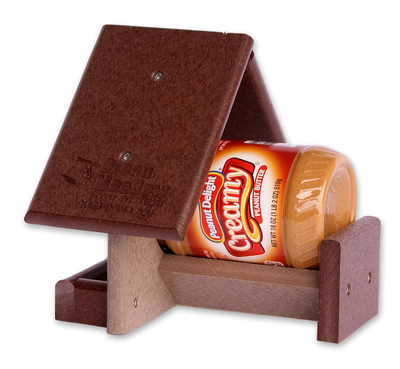 18 oz Jar Peanut Butter Feeder Amish built Weatherproof Polywood Black and Red
