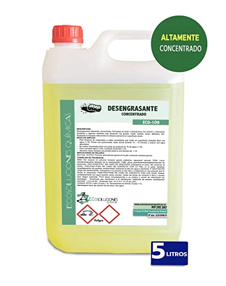 Ecosoluciones Químicas ECO-109 | Desengrasante Concentrado enérgico. Especial Cocina, Motores, maquinaria, Suelos industriales y talleres | 5 litros
