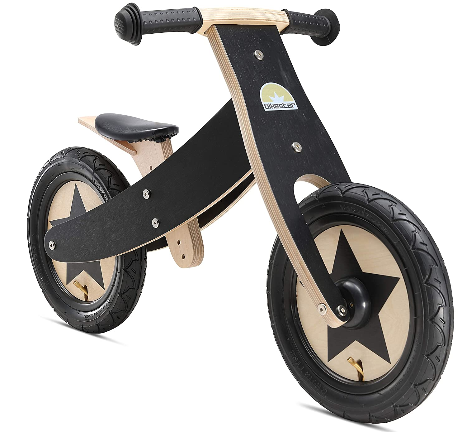 Black 2018 Bikestar® Original Safety Wooden Lightweight First Running Balance Bike with air tires for Kids age 3 year old boys and girls   12 Inch congreenible 2 in 1 Bike Edition