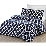 Printed Comforter Set (Queen, Navy) with 2 Pillow Shams - Luxurious Soft Brushed Microfiber - Goose Down Alternative Comforter by Utopia Bedding