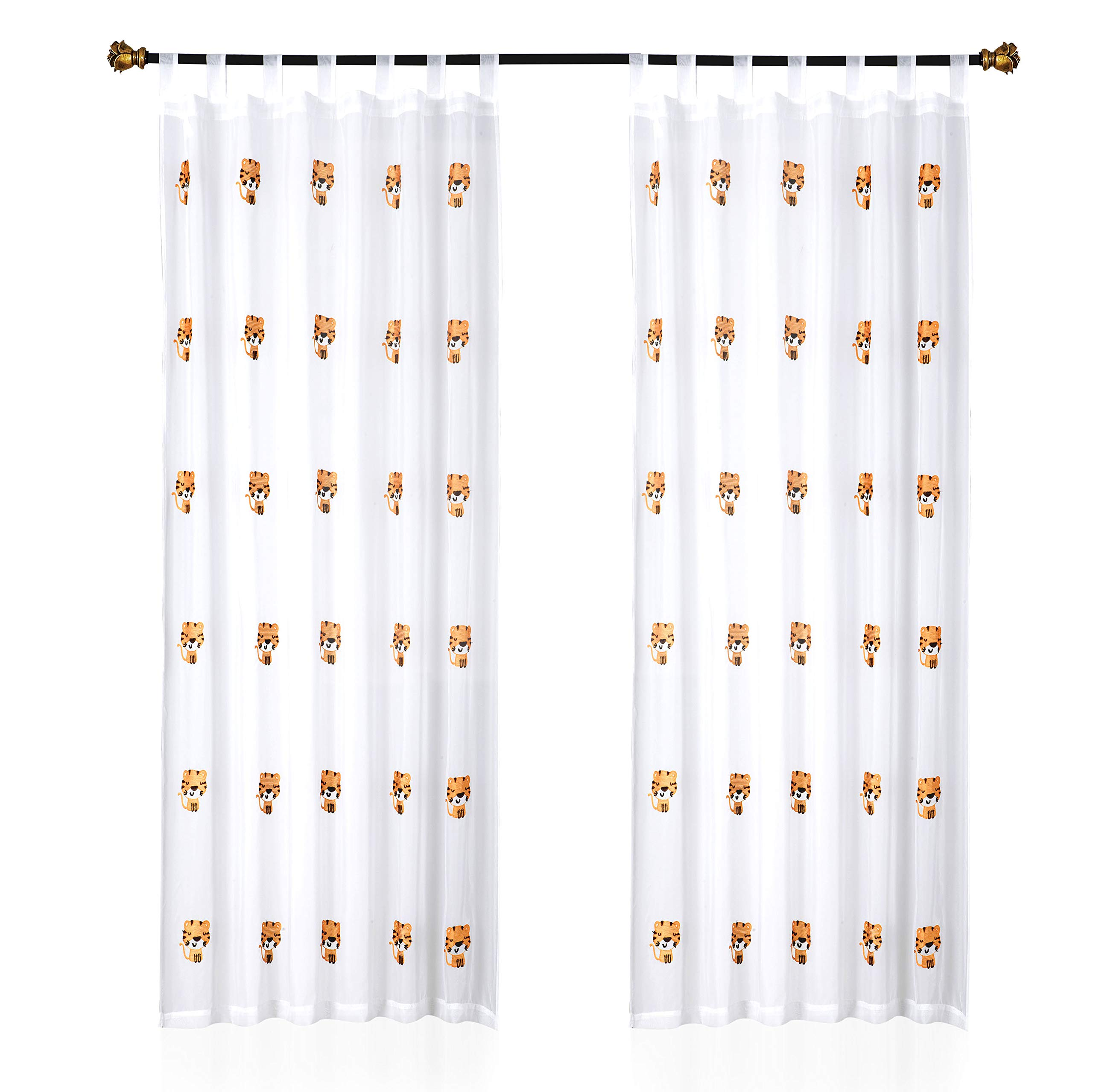 Valea Home White Sheer Curtains for Kids Room Cute Embroidered Design Tab Top Window Drapery Decorative Treatment for Children Bedroom,55 x 86 inch,1 Panel