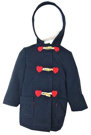 Girls/Boys Duffel/Duffle Coat Navy Blue With Hood/Hoodie Ex ...