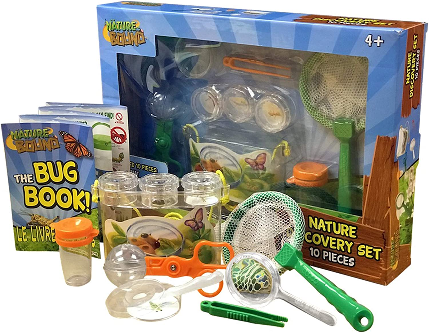 Nature Bound Bug Catcher Kit 6 Piece Nature Exploration Set with Habitat, Net, Book, Tweezers, Petri Dish, Bottle, and Magnifier Toy for Boys and Girls of All Ages Packaged in Gift Box (NB522)